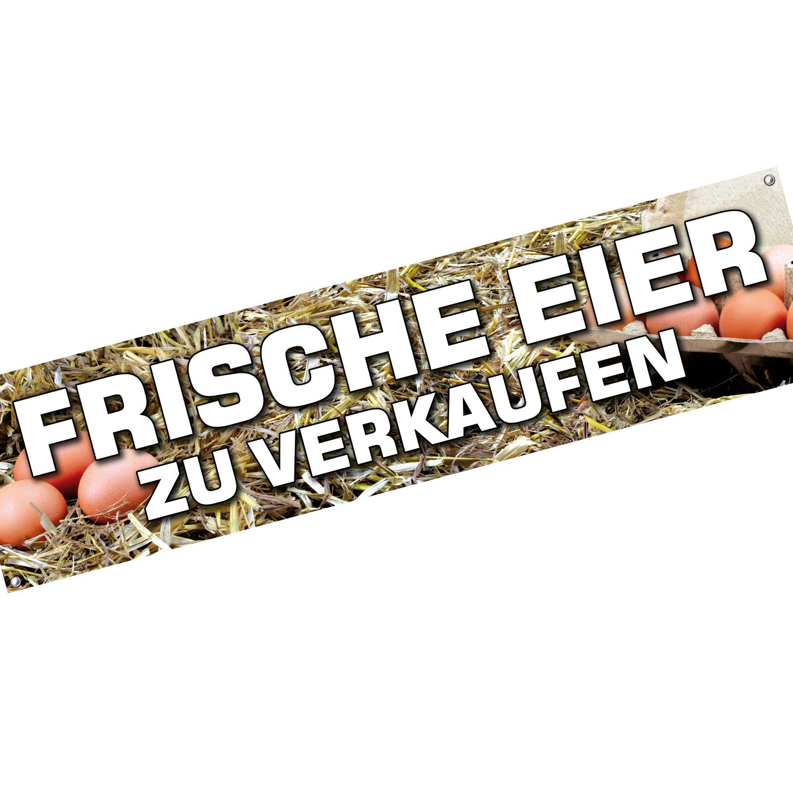 spannbanner banner werbebanner frische eier zu verkaufen 200 x 50 cm ebay. Black Bedroom Furniture Sets. Home Design Ideas