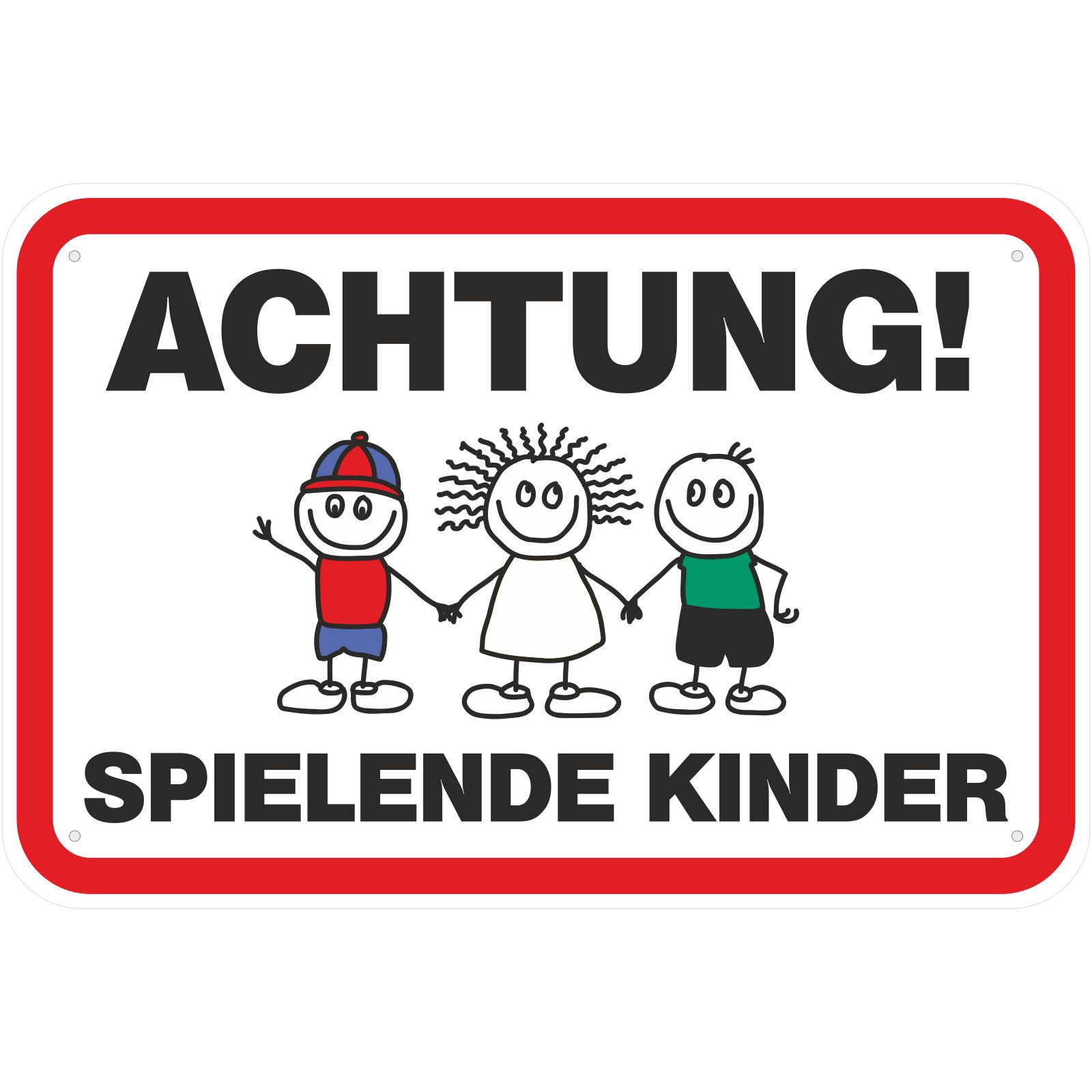 schild achtung spielende kinder 2 3mm aluverbund 20x30. Black Bedroom Furniture Sets. Home Design Ideas